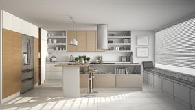 Unfinished project of of modern wooden kitchen with wooden detai. Ls and panoramic window, white minimalistic interior design Royalty Free Stock Photography
