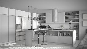 Unfinished project of of modern wooden kitchen with wooden detai. Ls, white minimalistic interior design Royalty Free Stock Photos