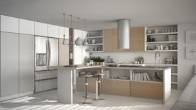 Unfinished project of of modern wooden kitchen with wooden detai. Ls, white minimalistic interior design Royalty Free Stock Photo