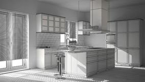 Unfinished project of modern wooden and white kitchen with island, stools and windows, parquet herringbone floor. Unfinished project of modern wooden and white royalty free stock photos
