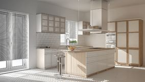 Unfinished project of modern wooden and white kitchen with island, stools and windows, parquet herringbone floor. Unfinished project of modern wooden and white royalty free stock photography