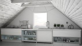Unfinished project of scandinavian industrial kitchen loft mezz Royalty Free Stock Images & Unfinished Project Of Scandinavian Industrial Kitchen Loft Mezz ...