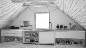 Unfinished project of scandinavian industrial kitchen, loft mezz Royalty Free Stock Images