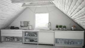 Unfinished project of scandinavian industrial kitchen, loft mezz Royalty Free Stock Photo