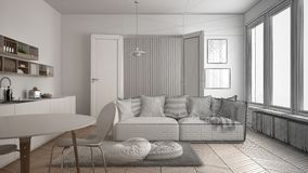 Unfinished project of scandinavian modern living room with kitchen, dining table, sofa and rug with pillows, minimalist white arch. Itecture interior design Stock Images