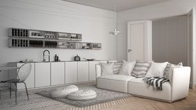 Unfinished project of scandinavian modern living room with kitchen, dining table, sofa and rug with pillows, minimalist white arch. Itecture interior design Royalty Free Stock Images