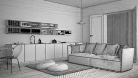 Unfinished project of scandinavian modern living room with kitchen, dining table, sofa and rug with pillows, minimalist white arch. Itecture interior design Stock Image