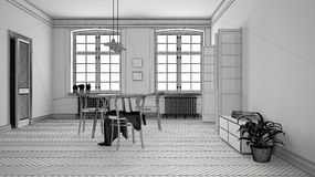 Unfinished project of scandinavian white and purple dining room, wooden herringbone parquet floor, table and chairs, windows,. Modern interior design royalty free illustration