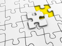 Unfinished puzzle. Unfinished white jigsaw puzzle - rendered in 3d Stock Photography