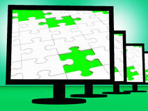 Unfinished Puzzle On Monitors Shows Missing Pieces Stock Photography