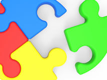 Unfinished Puzzle Shows Final Piece. And Completion Royalty Free Stock Photos