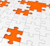 Unfinished Puzzle Shows Missing Pieces Stock Photography