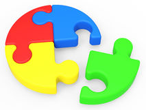 Unfinished Puzzle Shows Solving And Ending. Unfinished Puzzle Shows Solving, Ending And Finishing Stock Photos