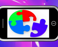 Unfinished Puzzle On Smartphone Showing Teamwork Stock Images