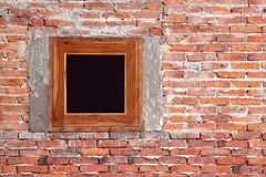 Unfinished red brick wall with window background. Unfinished red brick wall with window, house under construction background royalty free stock photo
