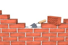 Unfinished Red Brick Wall With Mortar, Trowel On White Background Isolated. Royalty Free Stock Photo