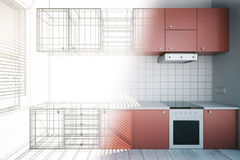 Unfinished red kitchen design Stock Photos