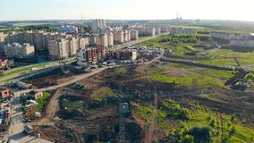 Unfinished residential buildings in an urban neighborhood. 4K stock video