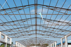 Unfinished roof of factory building. Unfinished roof of a factory building Stock Photos
