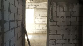 Unfinished room at construction site.  stock video footage