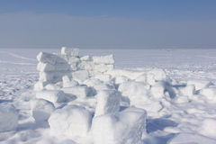 Unfinished snow construction of igloo Royalty Free Stock Images