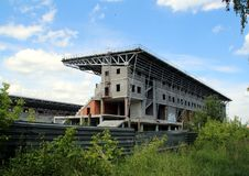 Unfinished stadium in the field in Monino. Series `Nature and Life of Russia.` Moscow regions. Summer of 2017 Royalty Free Stock Photography