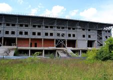 Unfinished stadium in the field in Monino. Series `Nature and Life of Russia.` Moscow regions. Summer of 2017 Stock Photo