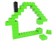 Unfinished toy bricks house.3d illustration. In backgrounds Stock Photos