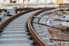 Unfinished tramway railway. Unfinished railway construction for tramway transport in the city Stock Image