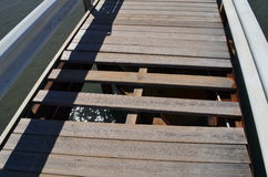 Unfinished walkway!. Few planks missing from this creaky walk way in Roda, Corfu Royalty Free Stock Images