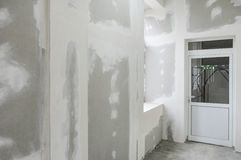 Unfinished walls with gypsum Stock Image