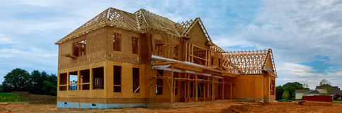Unfinished wood frame building or house. Unfinished wood frame building or a house royalty free stock photography