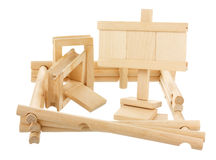 Unfinished wooden construction with empty tablet Royalty Free Stock Images