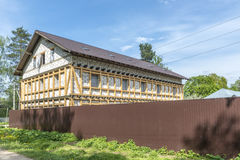 Unfinished wooden country house in Russia Stock Image
