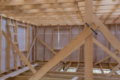 Unfinished wooden rail of frame house. Unfinished wooden rail of a frame house royalty free stock photo