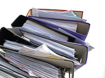 Unfinished work. Stack of messy file folders Royalty Free Stock Photography