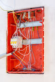 Unfinished work on electrical panel installation Royalty Free Stock Image