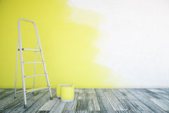 Unfinshed yellow room Stock Images