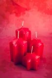 4 unfired красные свечи пришествия Стоковая Фотография RF