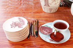 Unfired ceramics and glazes Royalty Free Stock Images
