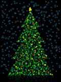 Unfocused Christmas Tree. Christmas tree made of colorful out-of-focus lights royalty free illustration