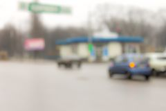 Unfocused image of city traffic. Stock Photos