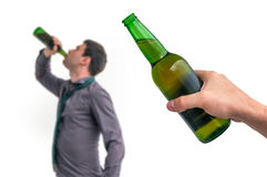 Unfocused man drinking alcohol Royalty Free Stock Images