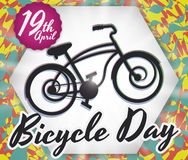 Unfocused Bike over Psychedelic Background to Commemorate Bicycle Day, Vector Illustration royalty free illustration