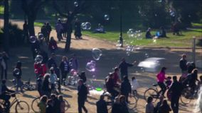 Unfocused scene with people walking in a park of Barcelona. stock video footage