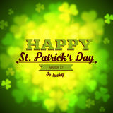 Unfocused shamrock leaves, Saint Patricks Day vector background Stock Photos