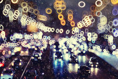 Unfocused urban background with lights Royalty Free Stock Photography