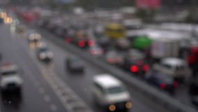 Unfocused view on traffic jams stock footage