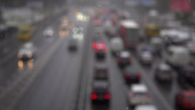 Unfocused view on traffic jams stock video footage