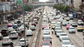 Unfocused view on traffic jams in Bangkok stock footage